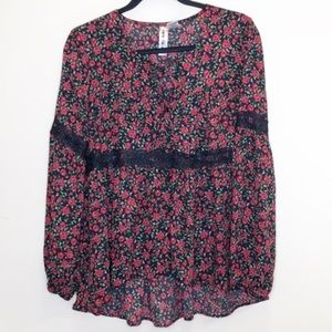 Mimi Chica black rose floral peasant tunic blouse